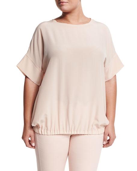 Marina Rinaldi Baciato Crepe Short-Sleeve Shirt, Women's