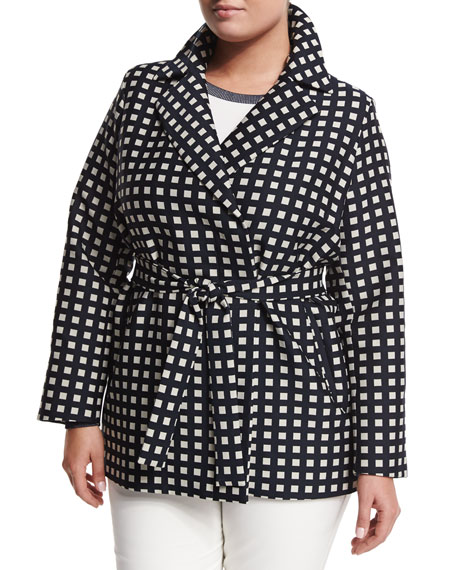 Marina Rinaldi Tea Geometric-Print Raincoat, Plus Size
