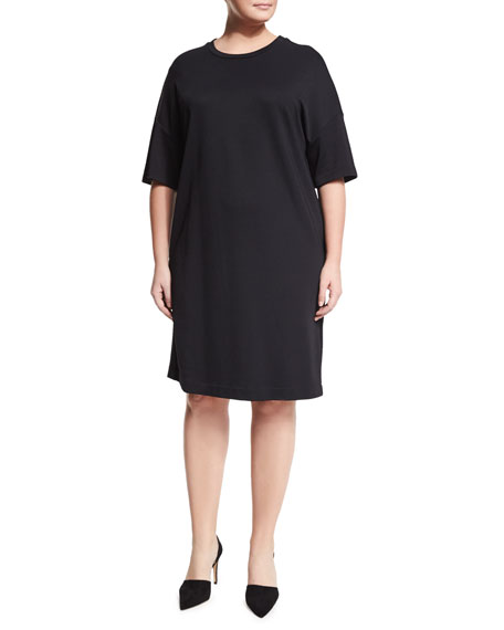 Marina Rinaldi Ombra Half-Sleeve Jersey Dress & Lengo
