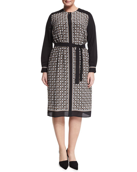 Marina Rinaldi Damiere Belted Geometric-Print Dress, Plus Size