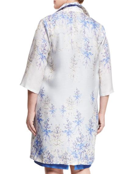 Tebe Floral-Print Long Coat, Plus Size