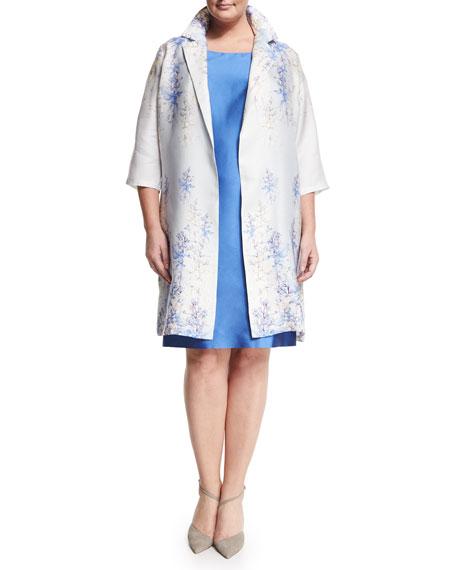 Marina Rinaldi Tebe Floral-Print Long Coat, Plus Size