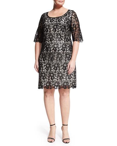 Dora Half-Sleeve Crochet Dress, Women's