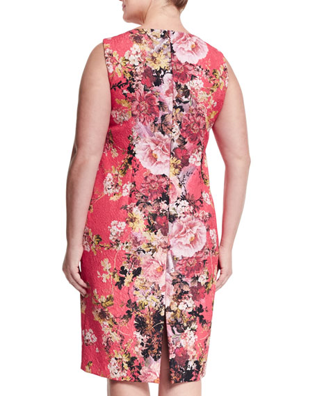 Dolcetto Floral-Print Sheath Dress W/ Sleeves, Plus Size