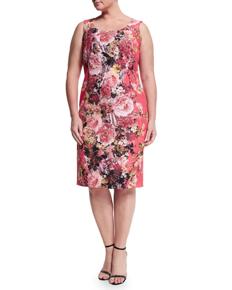 Marina Rinaldi Dolcetto Floral-Print Sheath Dress W/ Sleeves,