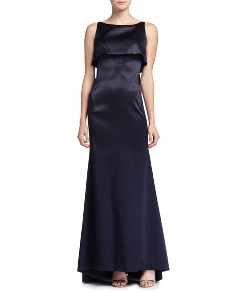 Zac Posen Sateen Double-Layer Gown, Midnight