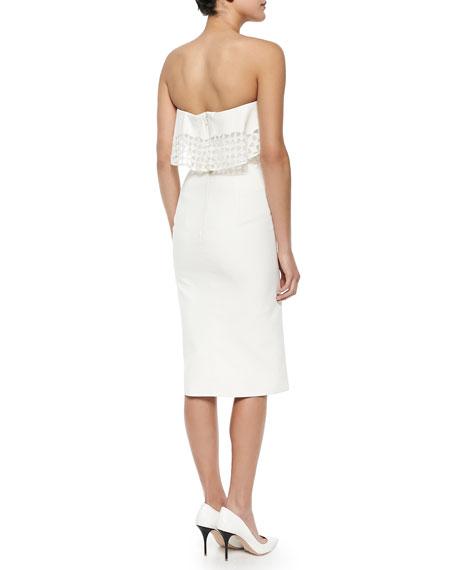 Strapless Geometric-Eyelet Draped Dress, Ivory