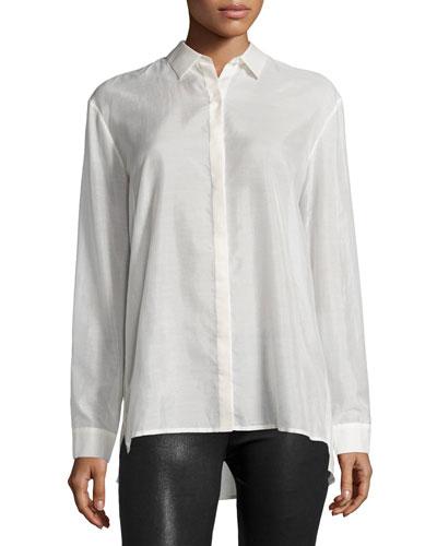 Long-Sleeve Batiste Boyfriend Shirt