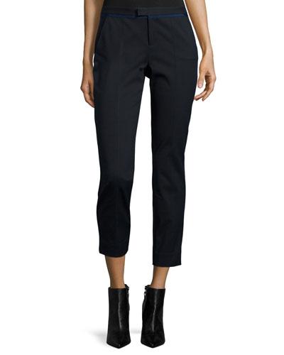 Slim Cotton Stretch Pants, Black