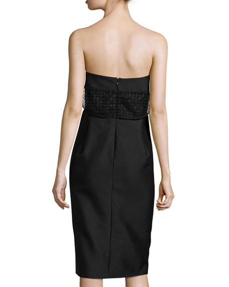 Strapless Sheath Dress W/Mesh Detail, Caviar Black