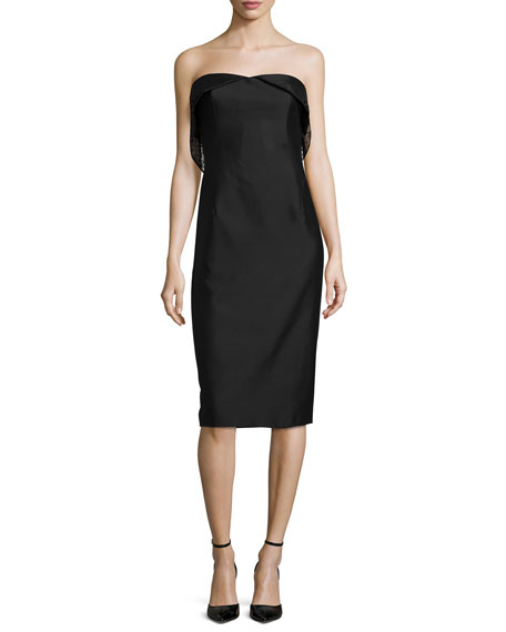 Strapless Sheath Dress W/Mesh Detail, Caviar Black