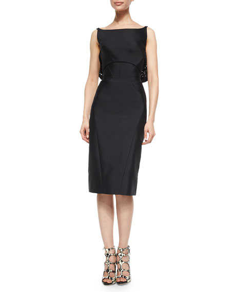 Zac Posen Draped Open-Back Sheath Dress