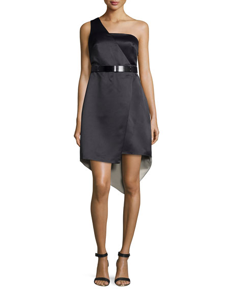 Halston HeritageOne-Shoulder Belted Dress, Black/Chalk
