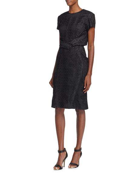 Zac Posen Short-Sleeve Laser-Cut Sheath Dress, Ink