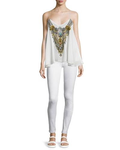 Sleeveless Embellished Flowy Top, White