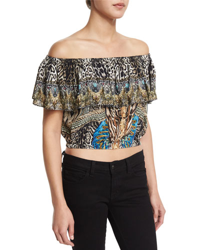 Off-The-Shoulder Midriff Frill Top, Warrior Wanderlust