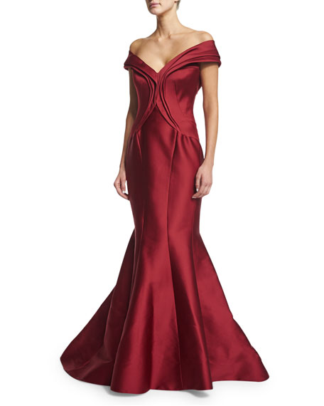 Bardot Mermaid Gown, Cherry