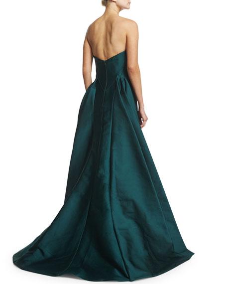 Strapless Satin Ball Gown, Dark Emerald