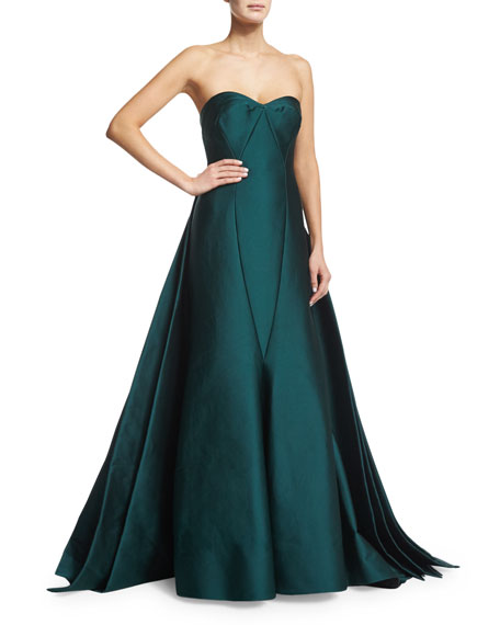 Zac Posen Strapless Satin Ball Gown, Dark Emerald