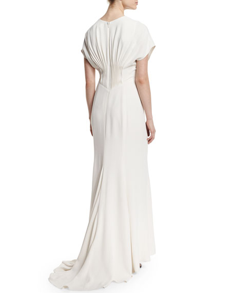 Short-Sleeve Pintuck Gown, Magnolia