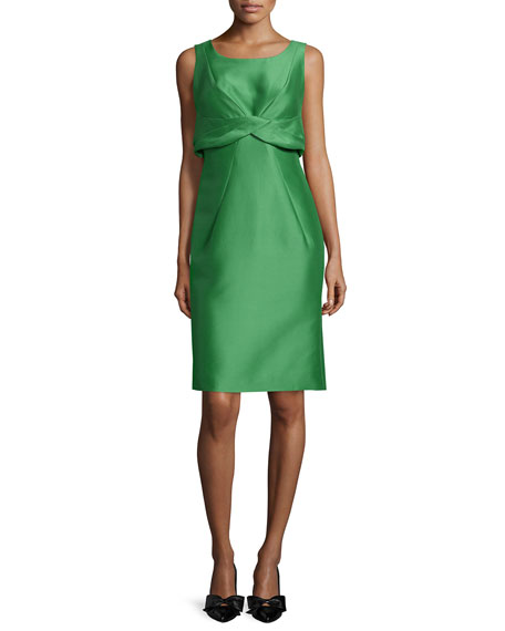 Zac Posen Sleeveless Twist-Front Dress, Peppermint