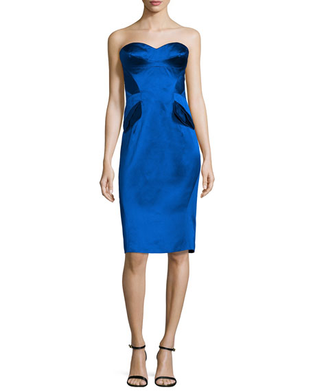 Strapless Pleated-Waist Cocktail Dress, Cobalt