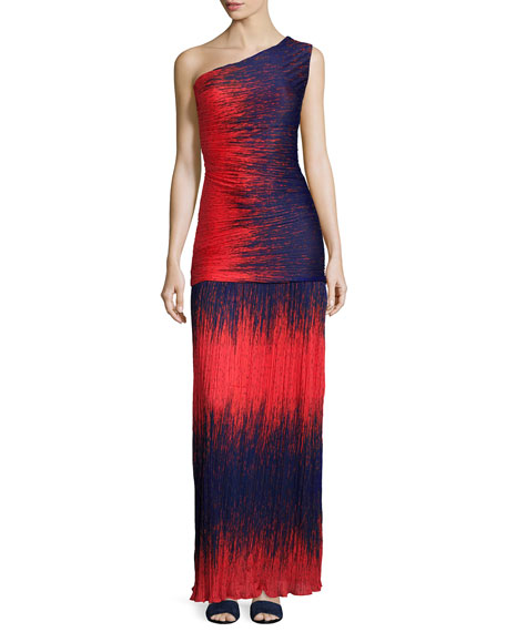 Halston Heritage One-Shoulder Ombre Gown, Fire Wind Print