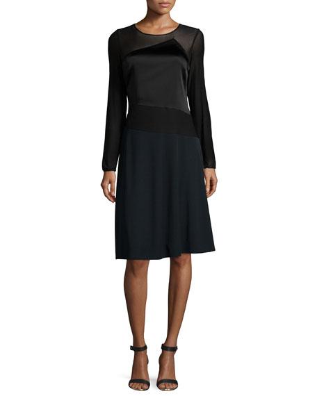 Halston Heritage Long-Sleeve A-Line Dress, Black