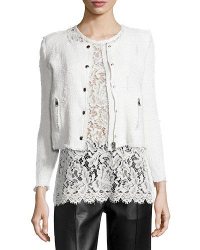 Agnette Cropped Boucle Jacket, White