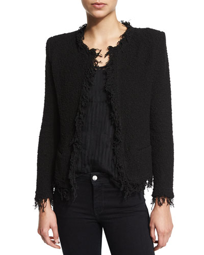 Shavani Open-Front Boucle Jacket, Black