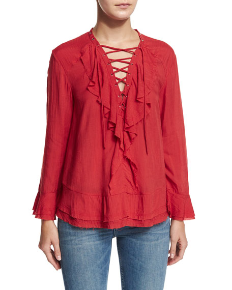 Iro Finley Ruffled Lace-Up Top & Nikky Distressed