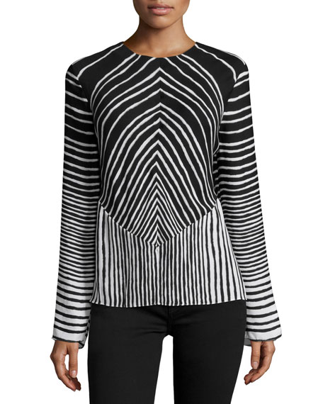 Halston Heritage Long-Sleeve Striped Top, Black/Bone