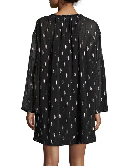Paula Metallic Silk Tie-Front Dress, Black/Silver