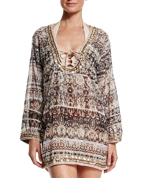 Letarte Printed Georgette Embroidered Caftan Coverup