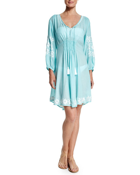 Letarte Royal Hawaiian Embroidered-Trim Sun Dress