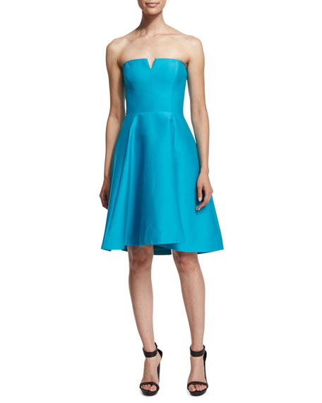 Halston Heritage Strapless Fit-&-Flare Dress, Caribbean