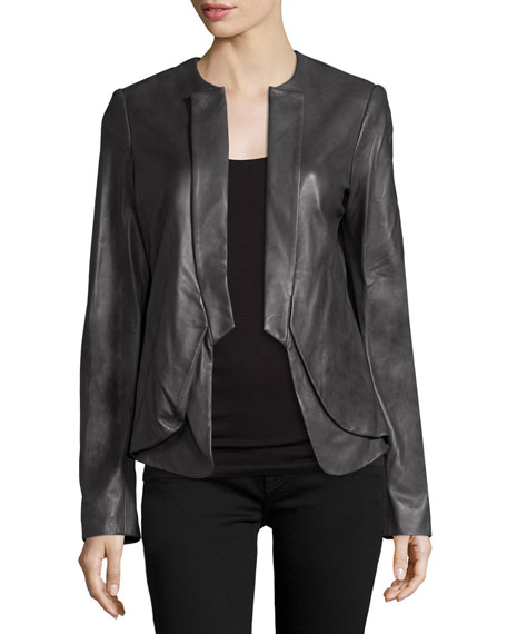 Halston Heritage Open-Front Leather Jacket, Charcoal