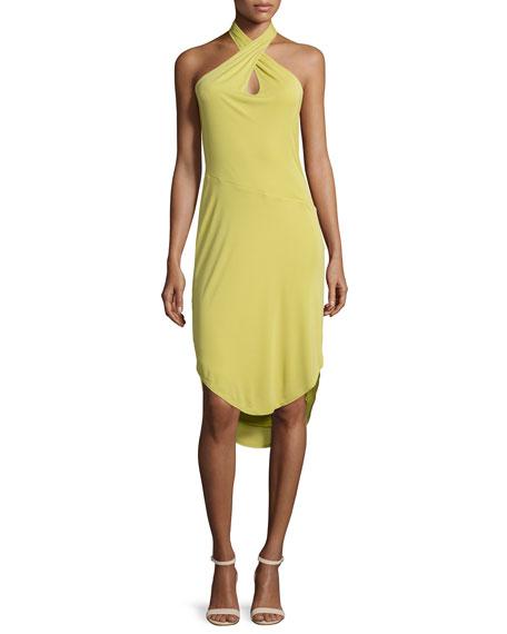 Halston Heritage Sleeveless Crisscross-Front Sheath Dress, Straw