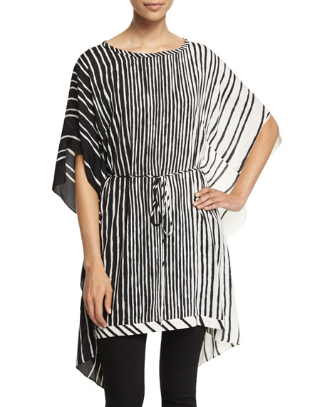 Halston Heritage Short-Sleeve Striped Caftan, Black/Bone