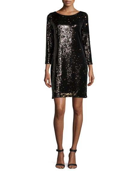 Halston Heritage Long-Sleeve Embellished Shift Dress, Gunmetal/Bronze