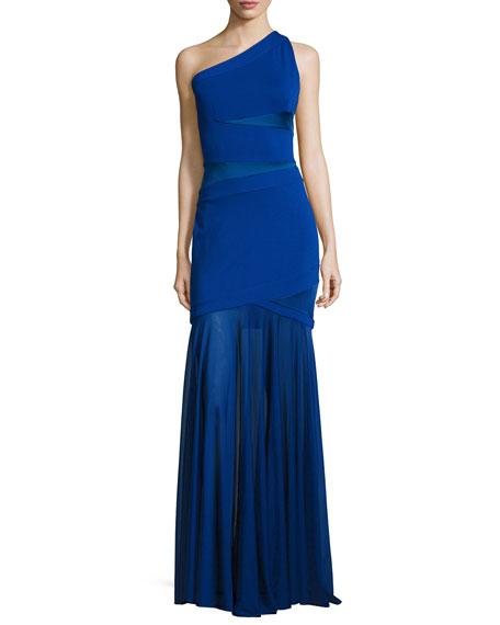 Halston Heritage One-Shoulder Bandage Gown, Bright Indigo