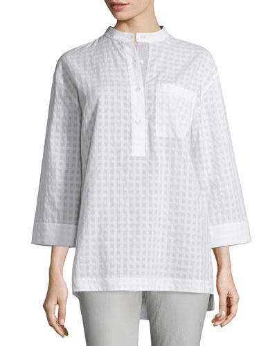 Cecilia Check-Print Blouse, White