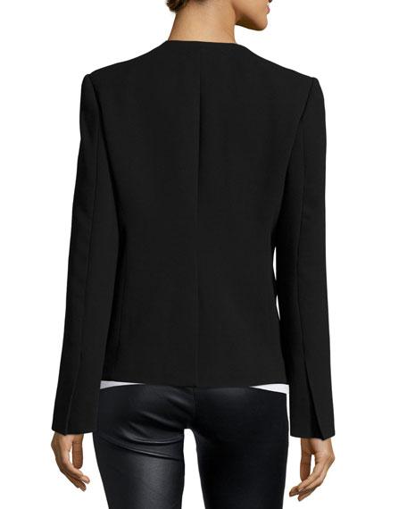 Open-Front Combo Blazer, Black