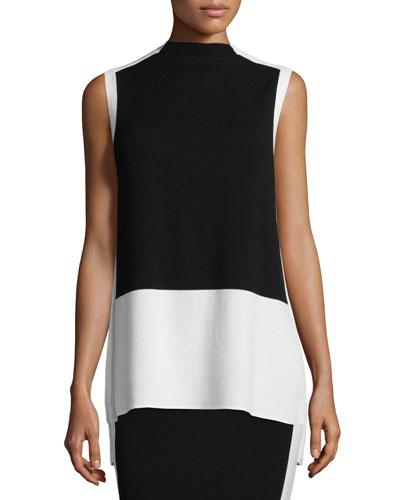 Sleeveless Colorblock Tunic, Black/Cloud