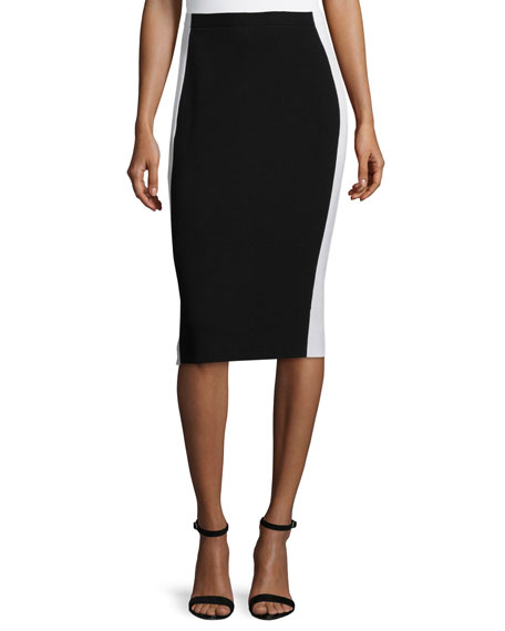 Lafayette 148 New York Colorblock Pencil Skirt, Black/Cloud