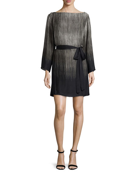 Halston Heritage 3/4-Sleeve Belted Ombre Caftan, Silver Gray