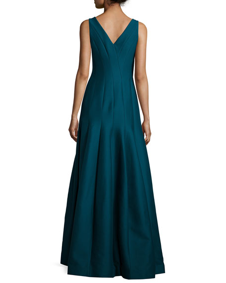 Sleeveless V-Neck Structured Gown, Deep Sea
