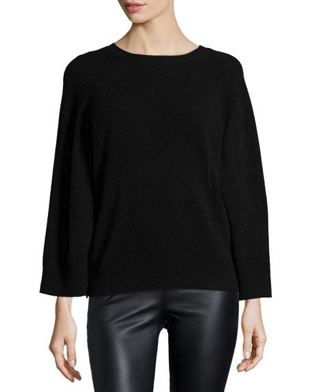 Halston Heritage Crewneck Cashmere Sweater. Black