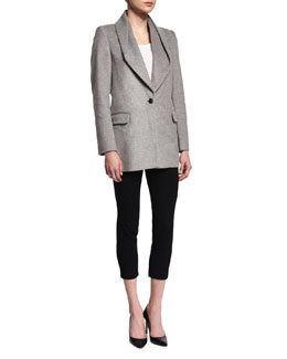 Draped-Collar Wool-Blend Coat