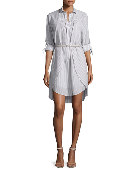 Long-Sleeve Belted Shirtdress, Mist/White